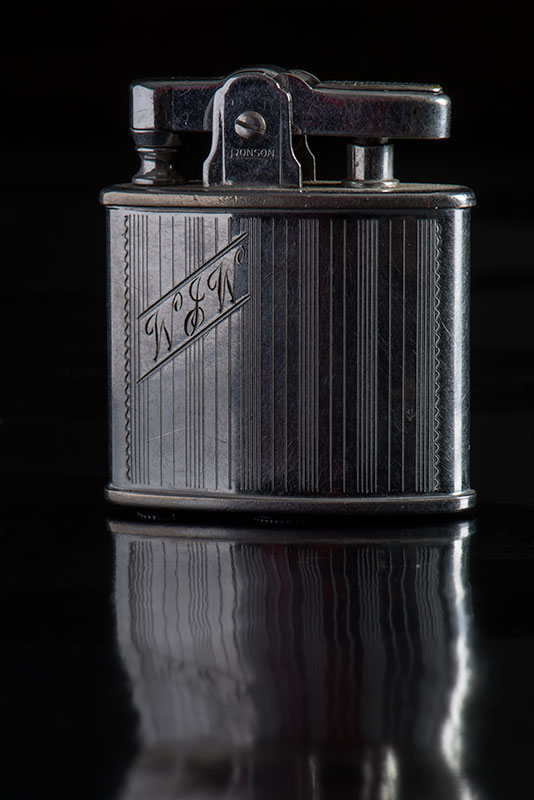 Ronson stainless steel lighter - photo by Peter S. Cramp - Artifact Photography