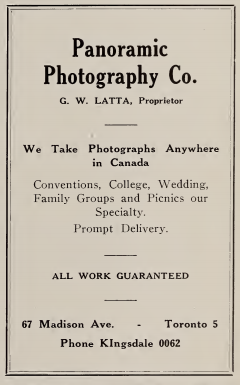 Branksome Slogan 1939 Yearbook advertisement for Panoramic Photo Co.