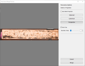 Lightroom Photo Merge Preview window