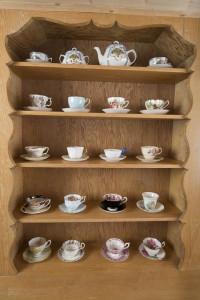 Test shot #1 - cups on wooden shelves