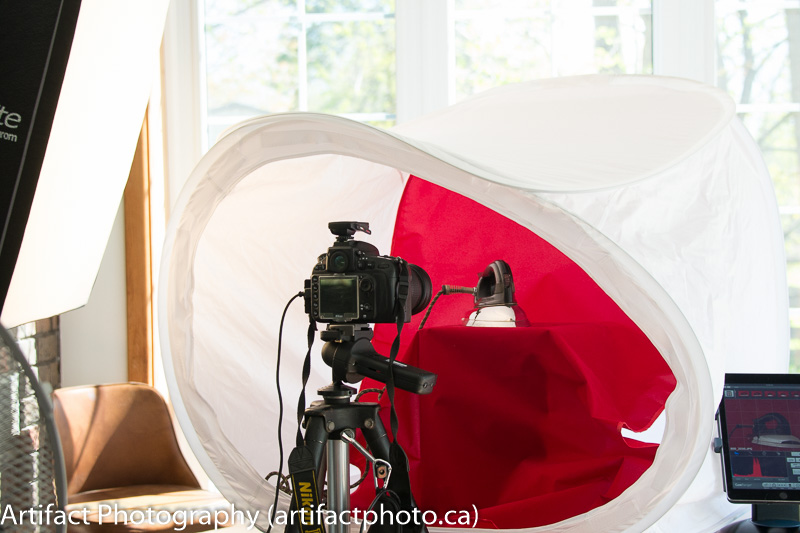 Tent by window with one flash